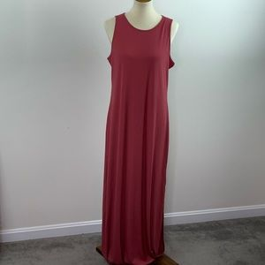 Pink Rose Ribbed Maxi Dress with Side Slits Large